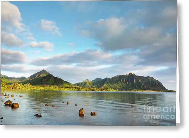 Greeting Card featuring the photograph Kualoa Ridge And Kaneohe Bay by Charmian Vistaunet