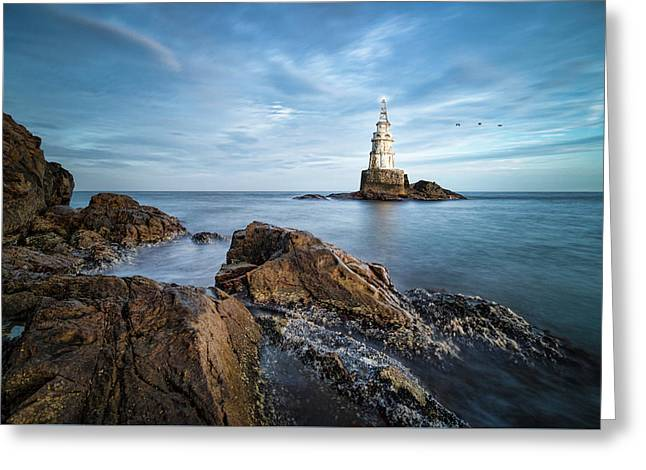 Greeting Card featuring the photograph Lighthouse In Ahtopol, Bulgaria by Milan Ljubisavljevic