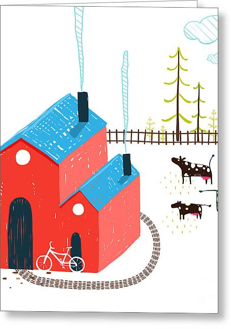 Little Village House Rural Landscape Greeting Card