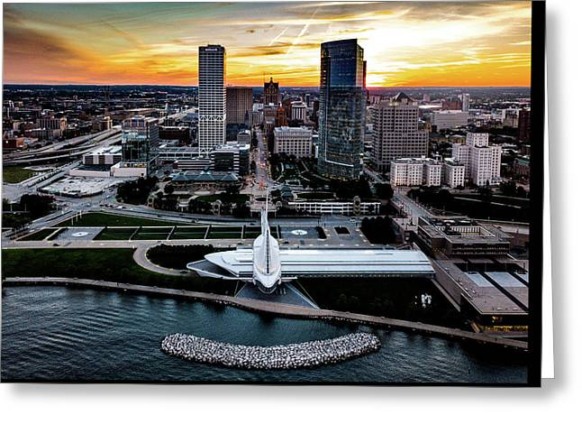 Greeting Card featuring the photograph Milwaukee Sunset by Randy Scherkenbach