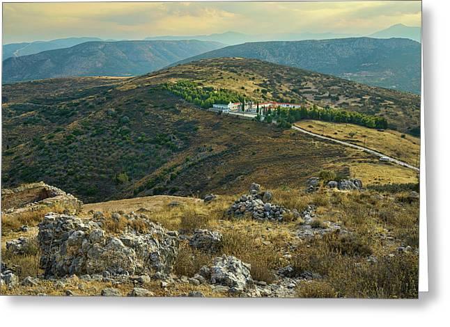 Monastery Agion Anargiron Above Argos Greeting Card