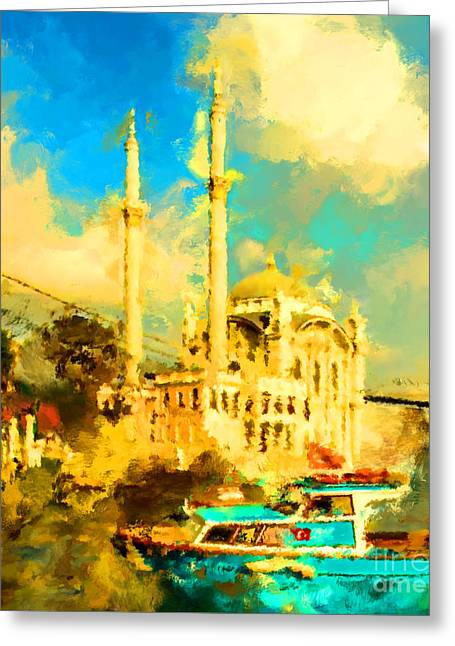 Oil Paint Istanbul View Bosphorus Greeting Card