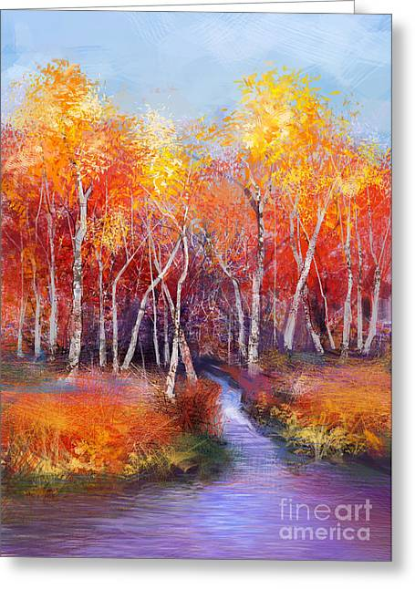 Oil Painting Landscape - Colorful Greeting Card