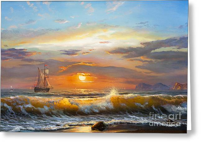 Oil Painting On Canvas , Sailboat Greeting Card