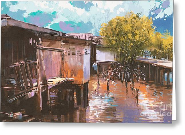 Old Fishing Village,oil Painting Greeting Card