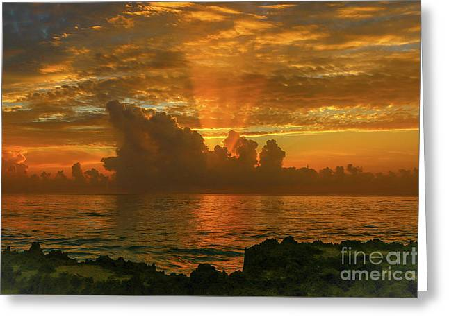 Orange Sun Rays Greeting Card
