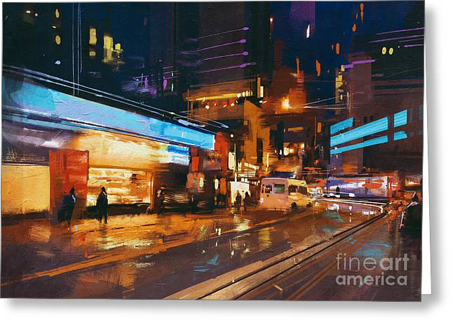 Painting Of Street In Modern Urban City Greeting Card