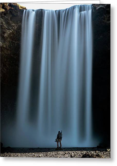 Amongst Giants Skogafoss Iceland Greeting Card