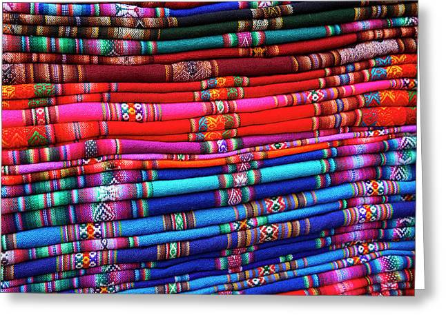 Piles Of Colorful Cloth For Sale Greeting Card by David Wall