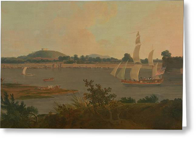 Pinnace Sailing Down The Ganges Past Monghyr Fort Greeting Card