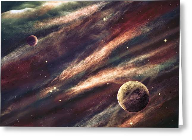 Planets Over The Nebulae In Space Greeting Card