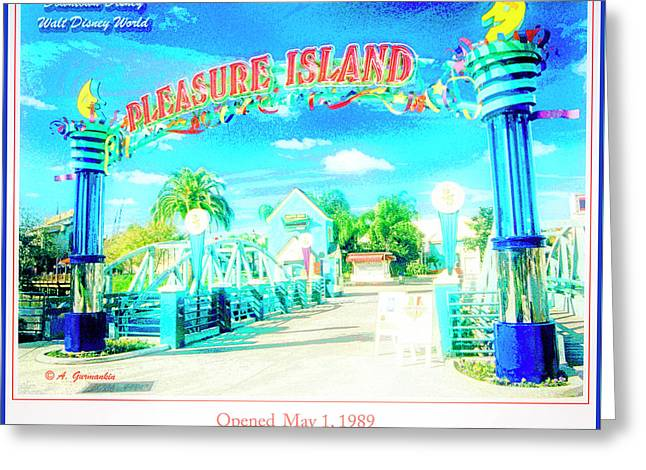 Pleasure Island Sign And Walkway Downtown Disney Greeting Card