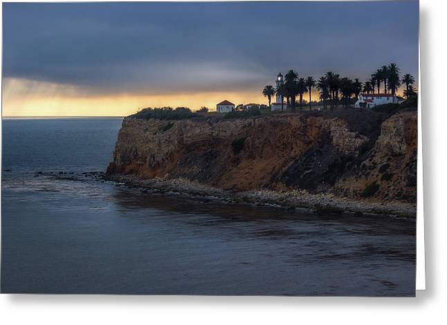 Point Vicente Lighthouse At Sunset Greeting Card