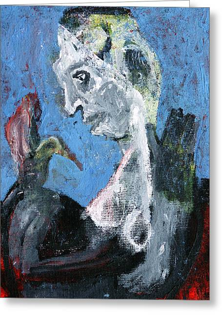 Portrait With A Bird Greeting Card