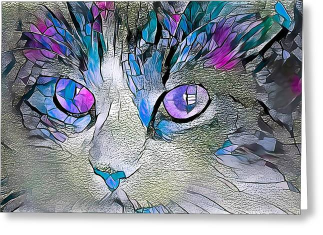 Purple Stained Glass Kitty Greeting Card