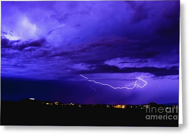 Rays In A Night Storm With Light And Clouds. Greeting Card