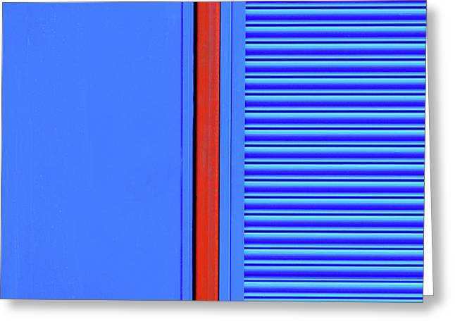 Blue With Red Stripe Greeting Card