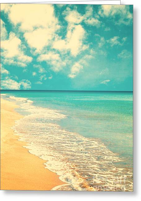 Retro Beach Greeting Card by Andrekart Photography
