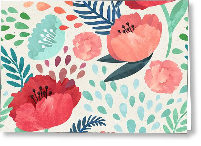 Seamless Hand Illustrated Floral Greeting Card