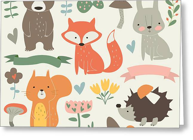 Set Of Forest Animals In Cartoon Style Greeting Card