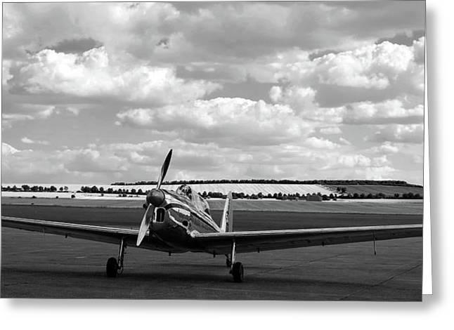 Silver Airplane Duxford England Greeting Card