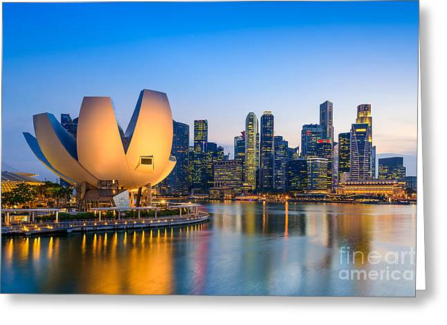 Singapore Skyline At The Marina During Greeting Card by Sean Pavone