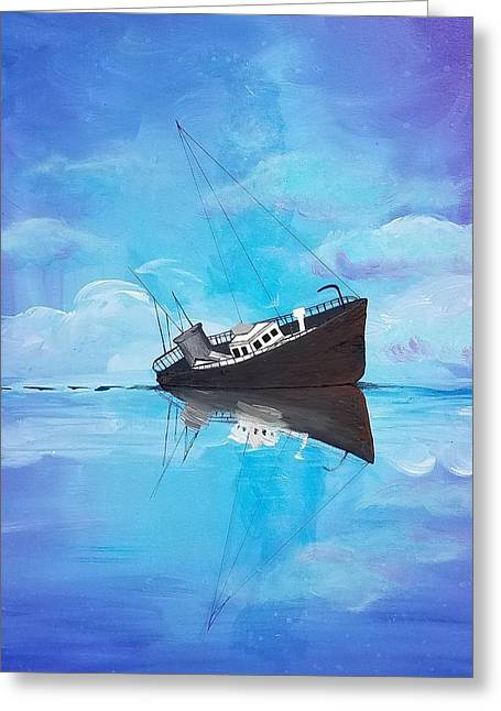 Greeting Card featuring the painting Sinking Ship  by Jennah Lenae