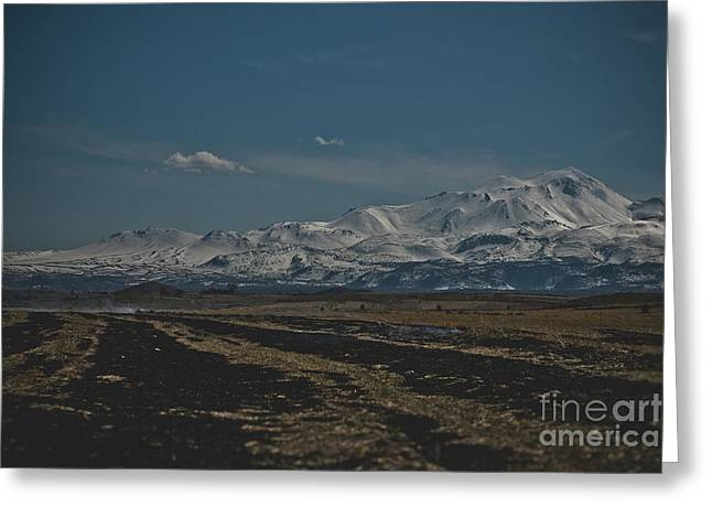 Snow-covered Mountains In The Turkish Region Of Capaddocia. Greeting Card