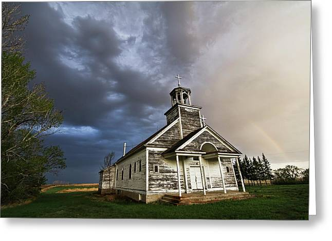 Stormy Sk Church Greeting Card