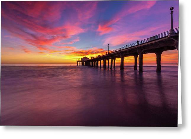 Stunning Sunset At Manhattan Beach Pier Greeting Card