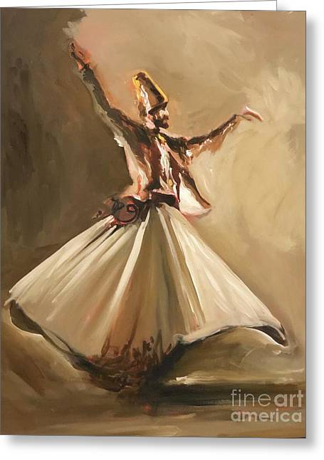 Greeting Card featuring the painting Sufi by Nizar MacNojia