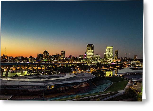 Greeting Card featuring the photograph Summerfest Sunset by Randy Scherkenbach