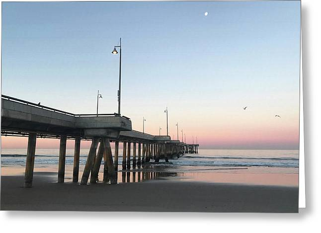 Sunrise At Venice Beach Pier Greeting Card