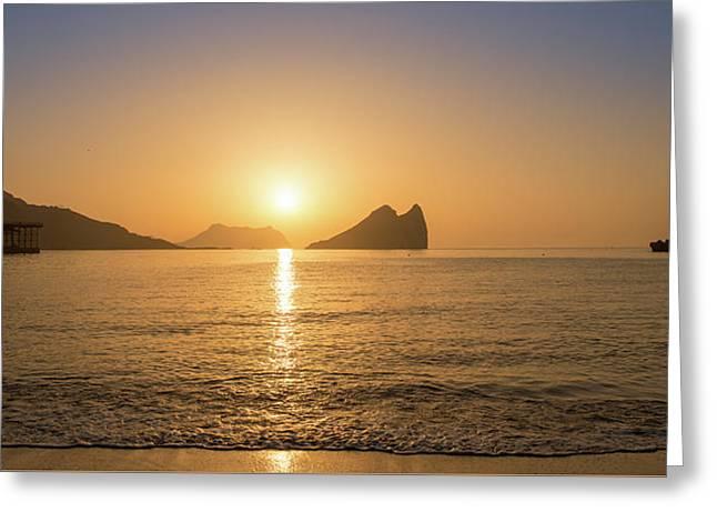 Sunrise On A Beach In Aguilas, Murcia Greeting Card