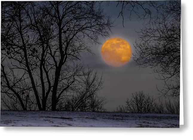 Super Blue Moon Rising 2 Greeting Card