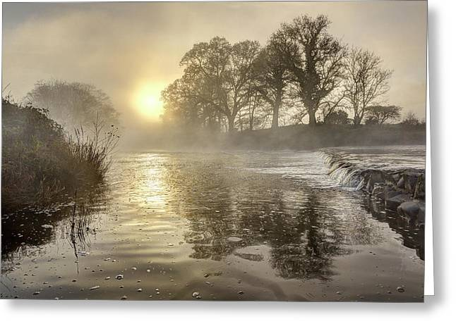 Tamar River Winter  Sunrise, Uk Greeting Card