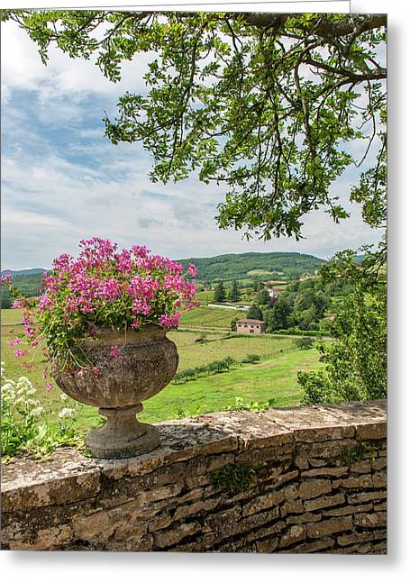 Terrace, Chateau De Pierreclos Greeting Card