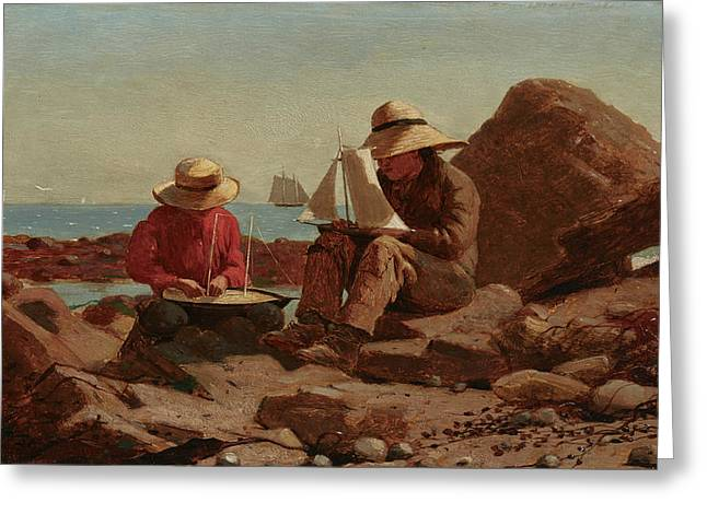 The Boat Builders, 1873 Greeting Card