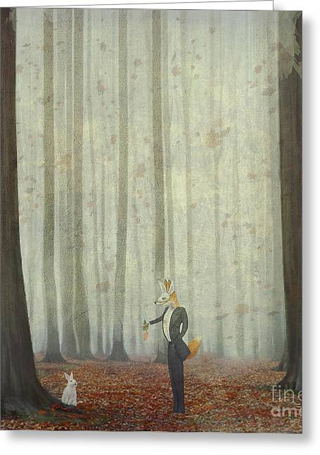 The Fox In A Wood To Hunt On A Hare Greeting Card by Natalia maroz