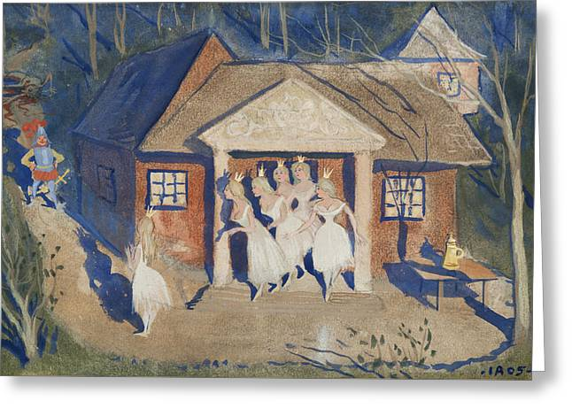 Greeting Card featuring the drawing The Story Of The Six Princesses by Ivar Arosenius