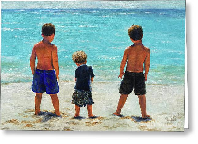 Three Beach Boys Aqua Sea Greeting Card