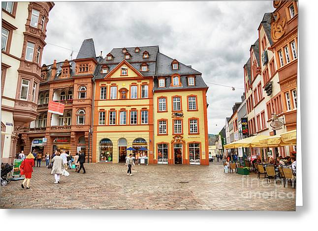 Greeting Card featuring the photograph Trier, Germany,  People By Market Day by Ariadna De Raadt