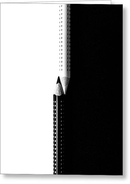 Greeting Card featuring the photograph Two Drawing Pencils On A Black And White Surface. by Michalakis Ppalis