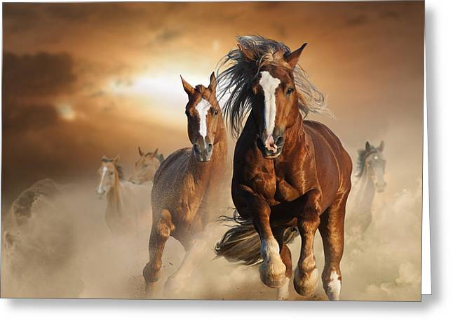 Two Wild Chestnut Horses Running Greeting Card