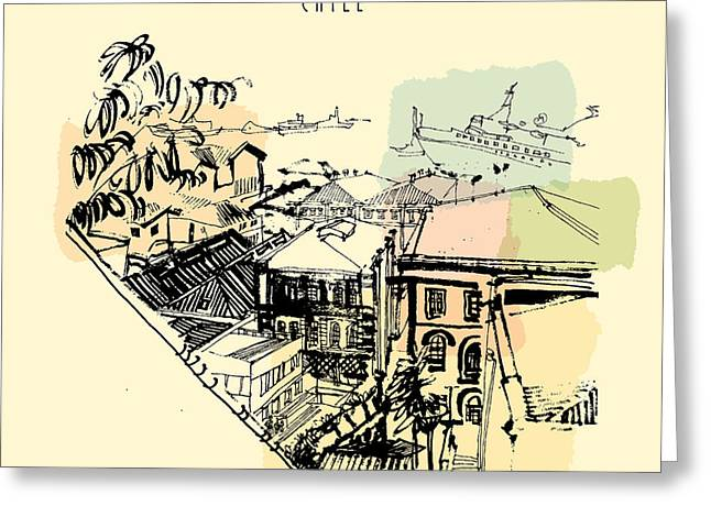 Valparaiso, Chile, South America. View Greeting Card