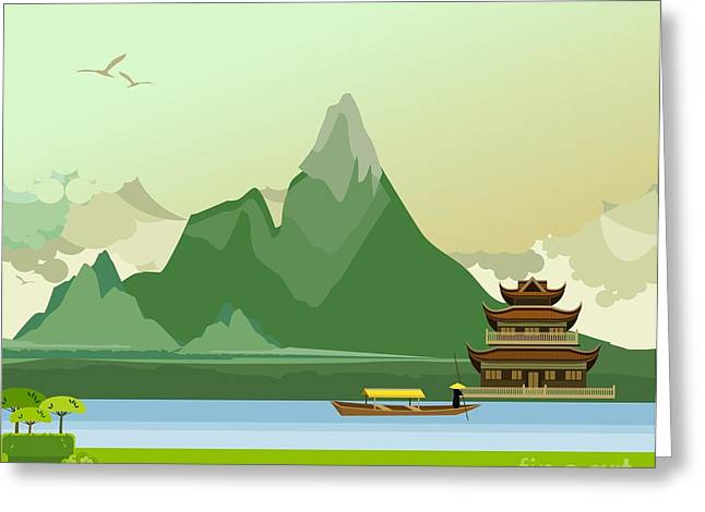 Vector Illustration Of An Old Buddhist Greeting Card