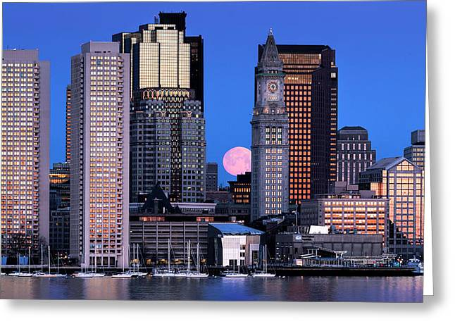 Vernal Equinox And The Worm Moon Over Boston Greeting Card