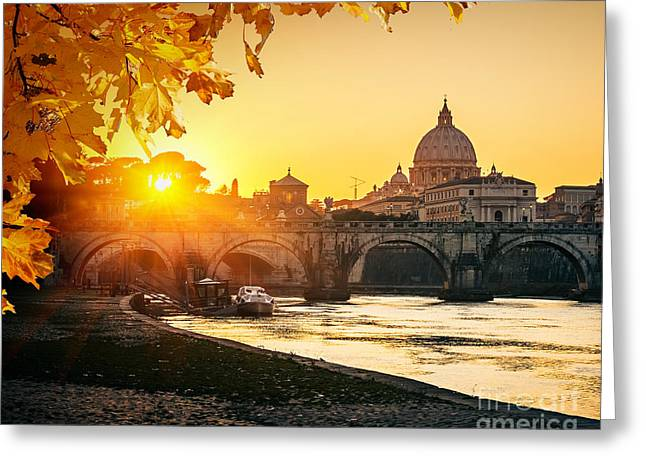 View At Tiber And St. Peters Cathedral Greeting Card