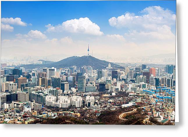 View Of Downtown Cityscape And Seoul Greeting Card