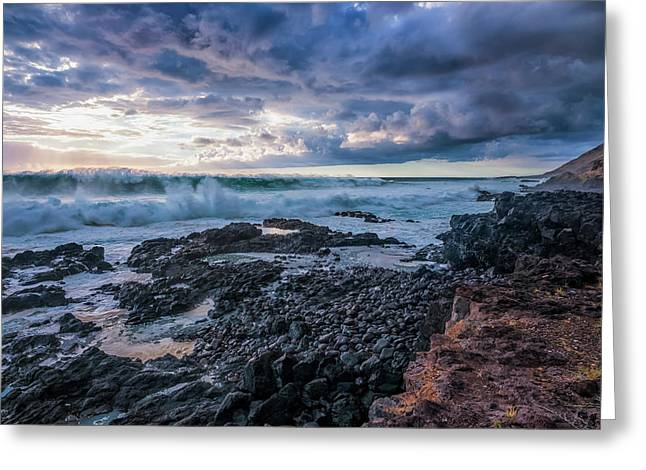 Waves Pound The Shoreline Greeting Card